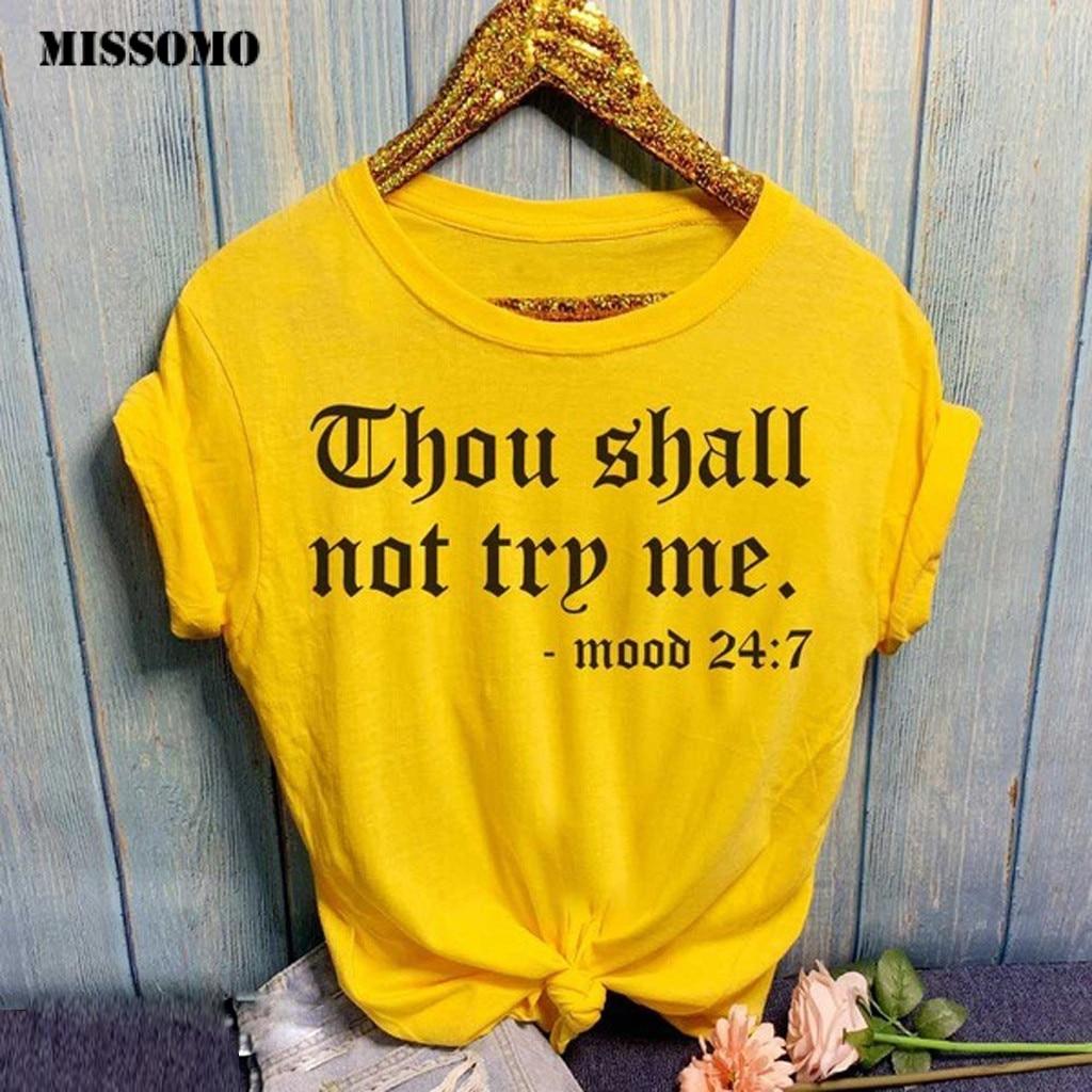 MISSOMO T Shirt Women Harajuku Casual Loose Summer Women T-shirt Tops O-Neck Letter Print Short Sleeve Tee Shirt Femme Plus Size