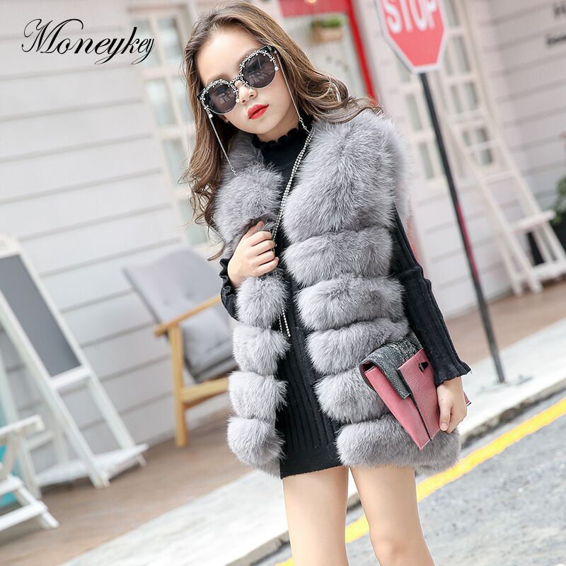 New Winter Fox Fur Vests For Girls Coat Toddlers Sleeveless Jackets Children Vest Baby Girl Faux Fur Waistcoat Kids Outerwear etosell women faux fox fur shaggy waistcoat long hair lapel vest coat camel l