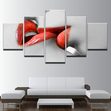 Modular Canvas HD Prints Picture 5 Pcs Woman Red Lipstick Lips Kiss Wall Art Paintings Home Decor Posters Living Room Frame