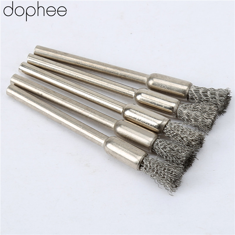 Dophee 5Pcs Wire Steel Pencil Brushes Wheel Mandrel Set Dremel Accessory For Rotary Tools 3.17mm Stainless Steel Pencil Brushes