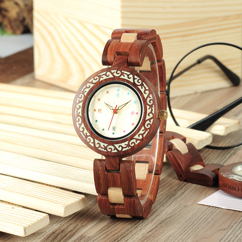 BOBO BIRD New Arrivals Women Quartz Watches Fashion Brand Ladies Dress Wristwatch with Wood Band in Gift Box custom logo bobo bird brand new wood sunglasses with wood box polarized for men and women beech wooden sun glasses cool oculos 2017