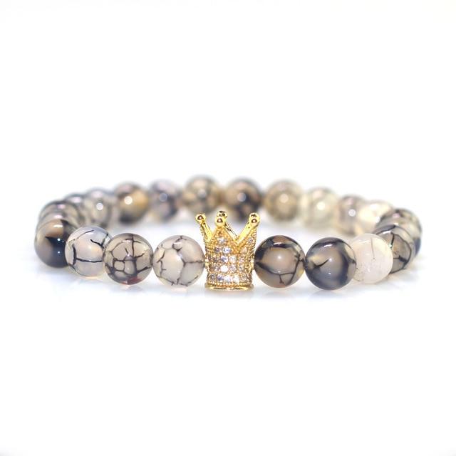 Очаровательный натуральный камень браслеты высокого качества микро-Инкрустация Золотая и Черная Корона мужские браслеты бусины с драконом браслет для женщин мужчин