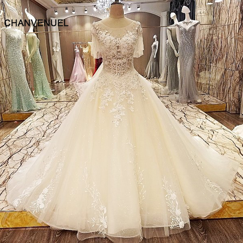 Wedding Dresses Ball Gown Corset: LS90742 Lace Arabic Wedding Dress Ball Gown Short Sleeves