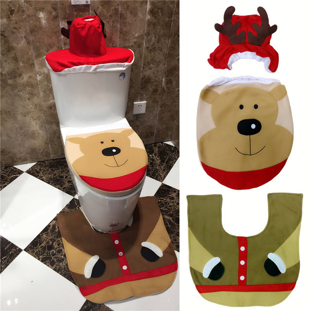 3Pcs Set Christmas Bear Toilet Seat Cover And Rug Bathroom Contour Xmas Decorations