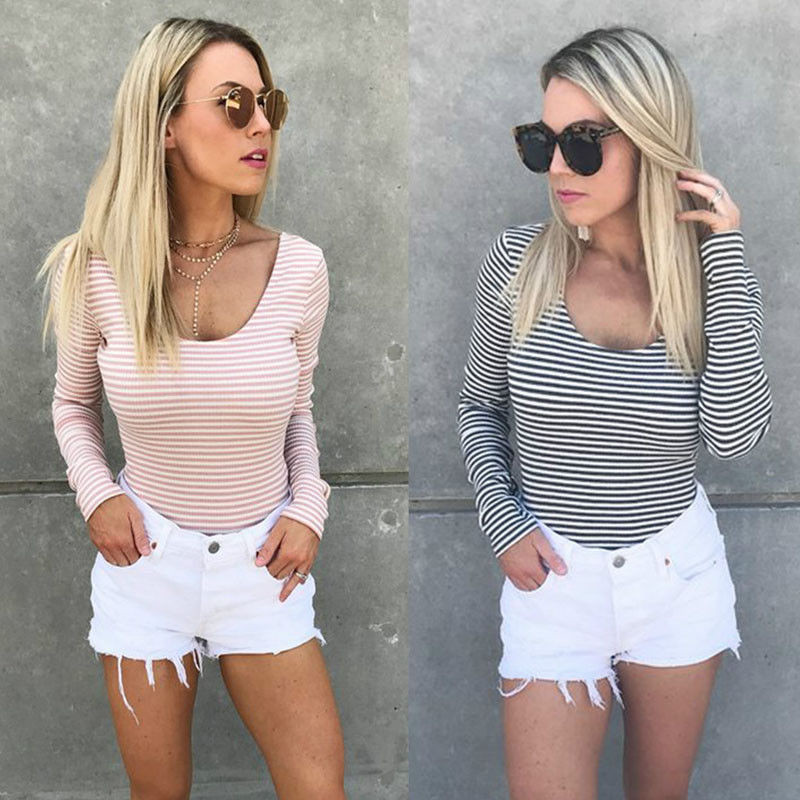 New Sexy Fashion Women Long Sleeve O-neck Striped Slim Backless Lace-up T-shirt Tops Drawstring Fall Autumn Outwear T-shirt Tops thumbnail