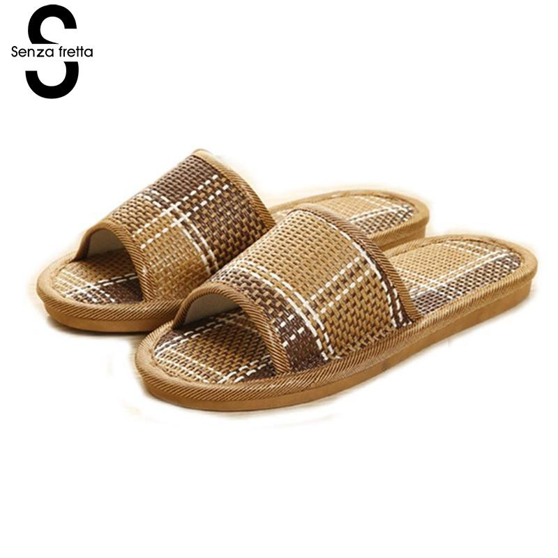 Senza Fretta Woman Sandals 2018 Fashion Women Slippers Casual Rattan Ladies Flat Slippers Indoor Home Slippers Pantoufle Femme 2018 natural tropical royal cane couple home slippers rattan straw weave female slippers bamboo rattan summer slippers