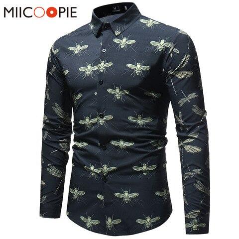 Mens Dress Shirts Spring Male Casual Camisa Masculina Insect Printed Slim Fit Hawaiian Shirts Long Sleeve Social Business Shirts Pakistan