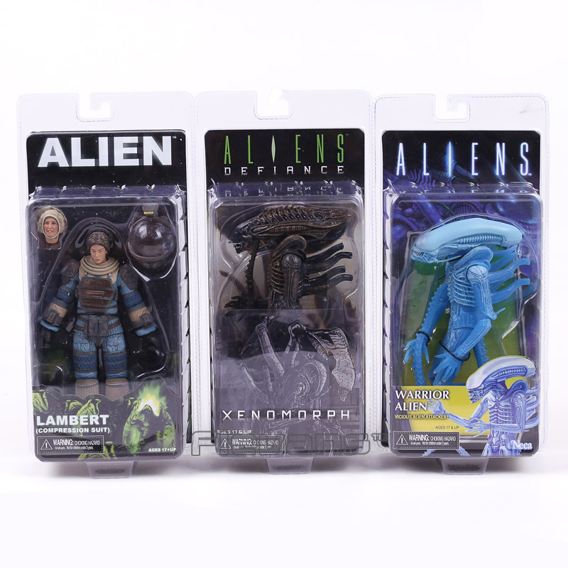 NECA Aliens vs Predator Series Aliens Defiance Lambert Compression Suit Xenomorph Warrior Alien PVC Figure Toy neca 2 pack alien vs predator action figure set 7