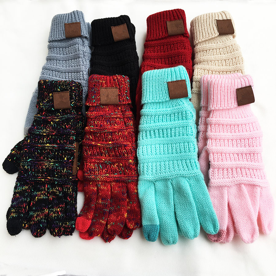 Colorful Touch Screen Gloves Winter Knitted Gloves For Women Men Fashion Stretch Woolen Knit Warm Full Finger Gloves Mittens|Women