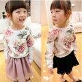 Outono roupas de inverno para crianças de água tinta de impressão de manga comprida T-shirt roupas das meninas