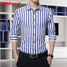 iRicheraf 2019 Mens Shirts Fashion Striped Cotton Shirt Long Sleeve Vestido Smart Casual Street Wear Korean Style 3XL 5XL