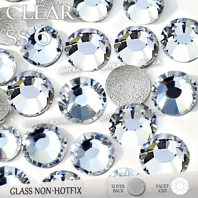 SS6 1.9-2.0mm Clear Nail Rhinestones for to Nails Art Glitter Crystals Decorations DIY Non HotFix Rhinestone Decor strass stones