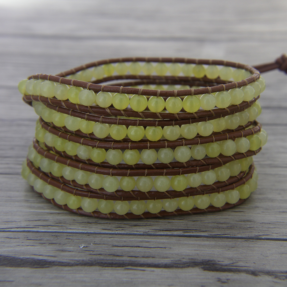 Image 2 - wrap bracelet bead leather wrap beaded bracelet 5 wrap bracelet boho bracelet yoga yellow bead Jewelry-in Wrap Bracelets from Jewelry & Accessories
