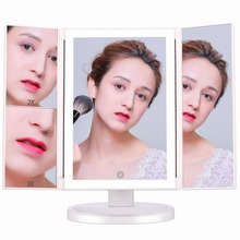 Tri-Fold Makeup Vanity Mirror with Lights 2x /3x Magnification Cosmetic Light Up Magnifying Mirror led lights tri fold adjustable 24 led lights dimmable mirror 1x 2x 3x magnifying make up mirror bathroom tabletop mirror for beauty makeup