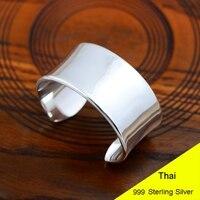 100% натуральная 999 серебро Гладкий широкий тяжелый открыть браслет 3 см Ширина Для женщин тайский серебряный Ювелирные украшения подарок