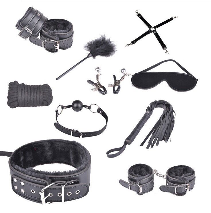 Sex Bondage Kit Set 10 Pcs Sexy Product Set Adult Games Toys Suit Hand Cuffs Footcuff Whip Rope Blindfold Couples Erotic Toys hottime sex toys bondage sex swing adult games bondage for couples sex product swing for women