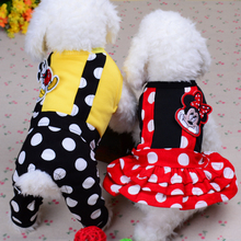 2016 Spring Summer Pet Dog Jumpsuit Polka Dot Mickey Mouse Princess Dog Dress Yorkshire Terrier Clothes Overalls XXS XS S M L