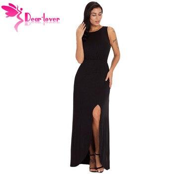 24619bb171 Querido amante vestido largo Vestidos de verano negro Rosa cuello hendidura  frontal sin mangas Maxi vestido túnica Longue Femme piso-longitud LC610130