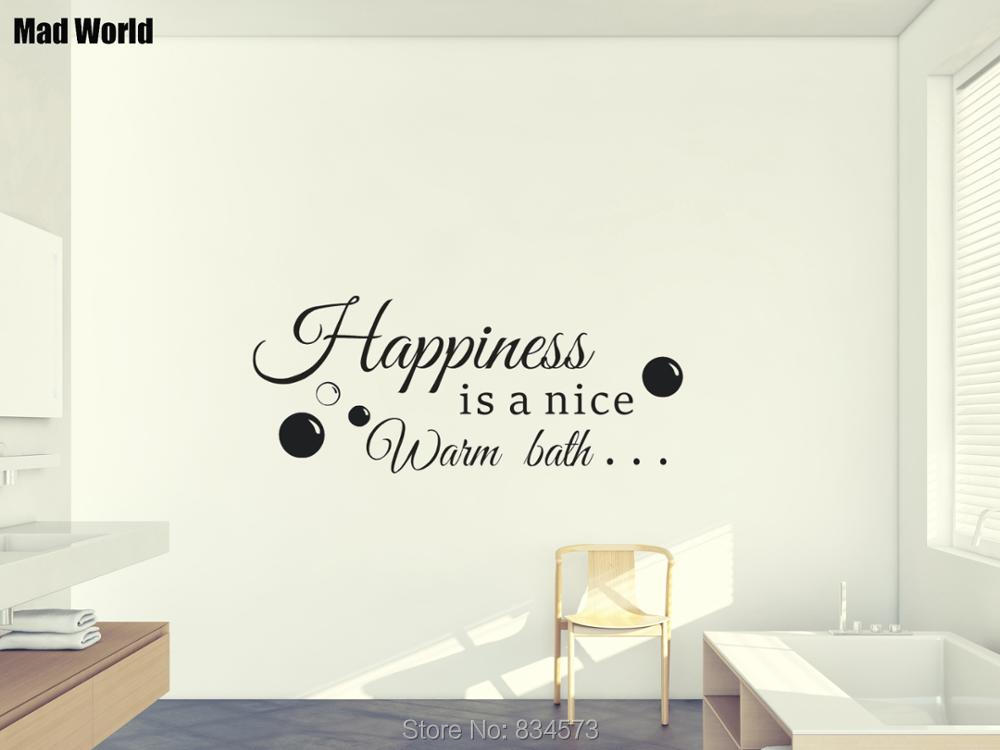 Mad World-Happiness is a nice warm bath Quote Wall Art Sticker Wall Decal Home DIY Decor ...