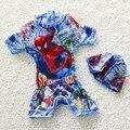 Лето ребенок ребенок мальчиков купальники новый мультфильм Человек-Паук один кусок купальный костюм для мальчика младенческой дети одежда для пляжа плавание с cap