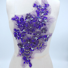 1Piece Beautiful Lace Fabric Sewing Supplies Rhinestone Applique Trim Decoration Accessories Purple Blue Gray Black Craft