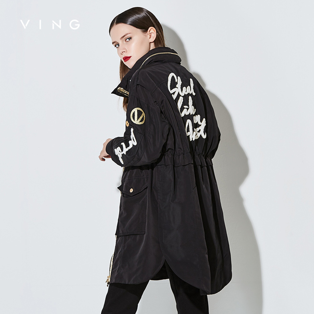 VING 2017 New Arrival Women Trench Outwear Medium Style Loose Stand Collar Long Sleeve Casual Trench Lady