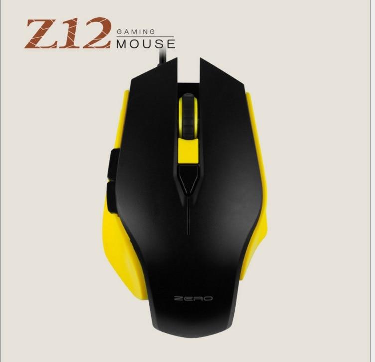 Metoo ZERO Z12 Wired Gaming Mouse USB Optisk LED Lights Mouse Gamer 6-knap til pc bærbar stationær computer