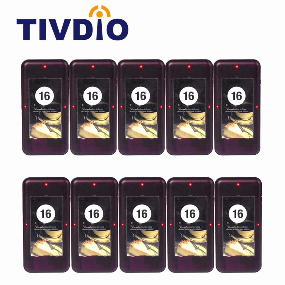 10pcs TIVDIO Restaurant Coaster Pager Receiver Call For 433MHz Wireless Paging Queuing System Waiter Calling System F4420A tivdio wireless restaurant calling system waiter call system guest watch pager 3 watch receiver 20 call button f3300a
