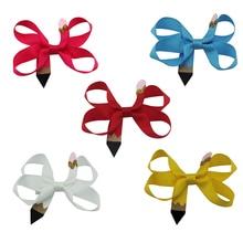 купить 10pcs 4 inch go to school soild Grosgrain Ribbon hair clip Hair Bows hairpin Girls Christmas Best Gift Alligator Clip онлайн
