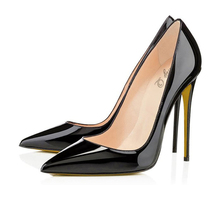 2016 Elegant Women Black Patent Leather High Heel Dress Pumps Pointy OL Shoes Stiletto Court Shoes Plus Size Free Shipping