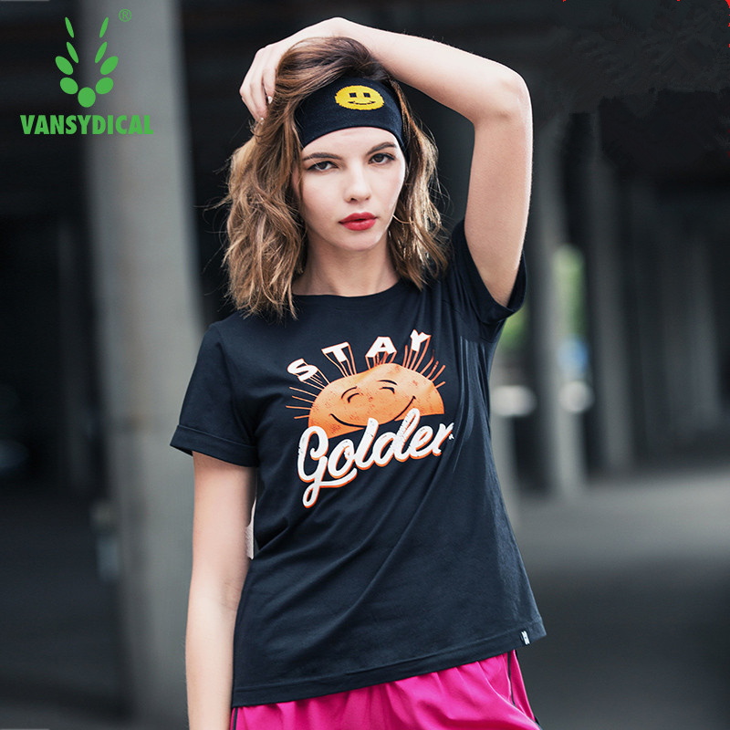 Vansydical Summer Womens Printed Cotton Sports T-shirts Short Sleeve Quick Dry Fitness Sportswear Workout Running Gym Tops Tee