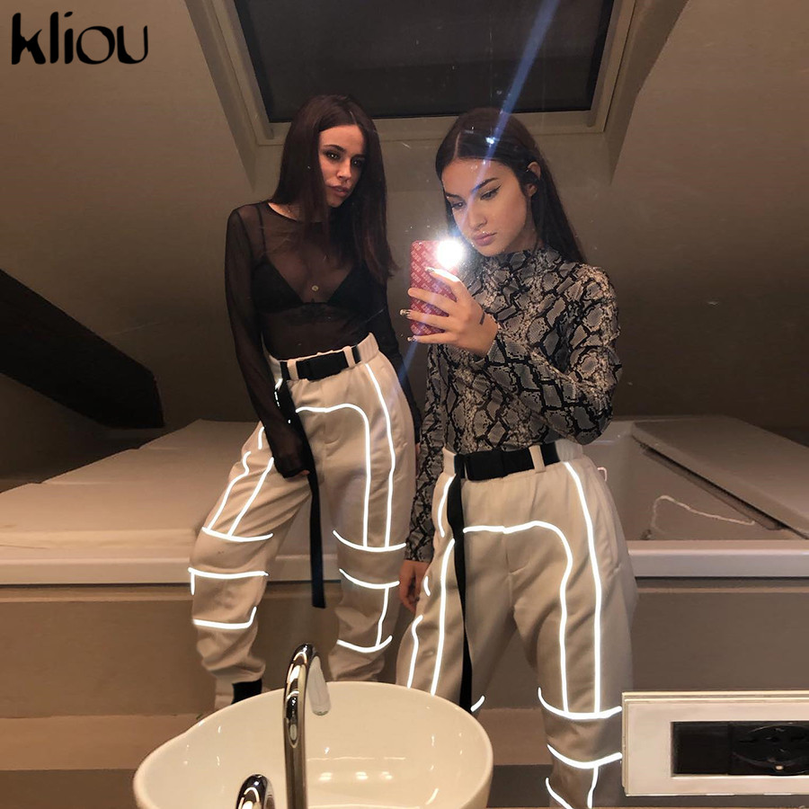 HTB1yzsQainrK1Rjy1Xcq6yeDVXat - Kliou women fashion street Reflective patchwork cargo pants 2019 new arrival zipper fly with sashes pockets knitted trousers