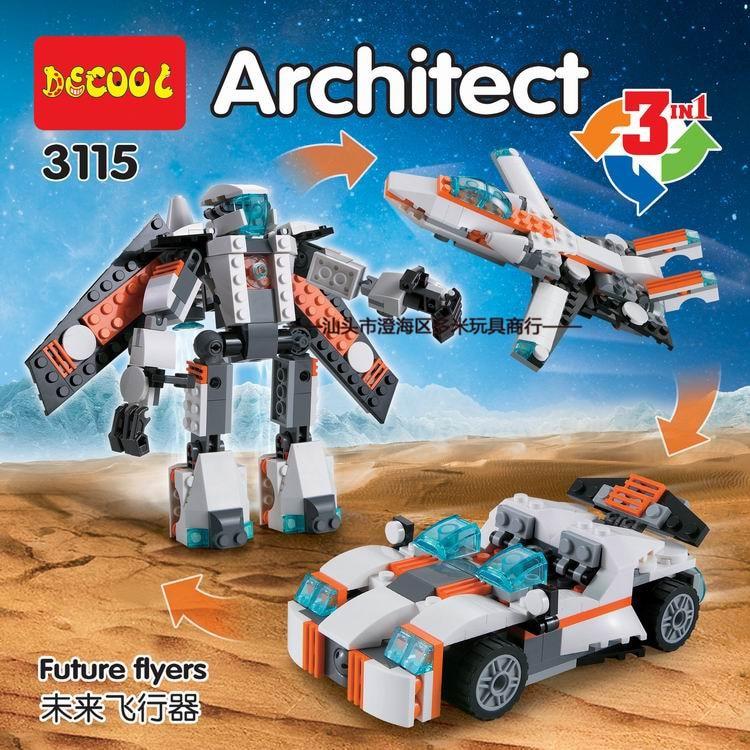 DECOOL 3115 City Creator 3 in 1 Future Flyers Robot Building Blocks  Kids Toys Compatible Legoe decool 3117 city creator 3 in 1 vacation getaways 613pcs bricks building blocks diy toy gifts for children compatible legoe