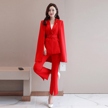 Women's suit women's fashion solid color ocean cloak suit two-piece suit (jacket + pants) women's business casual suit