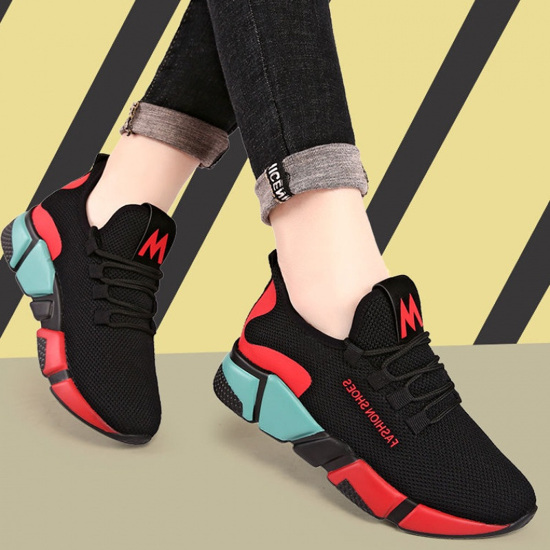 Sooneeya 2019 New Mixed Color Flats Shoes Platform Sneakers Women Mesh Comfort Ballet Flats Lace Up Soft Loafers Woman Tenis(China)