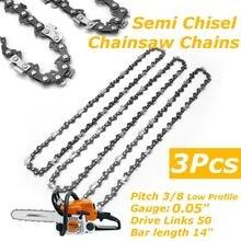3 uds. De cadenas de Semi cincel para motosierra, 3/8LP 0,05 para Stihl MS170 MS171 MS180 MS181, sierra eléctrica