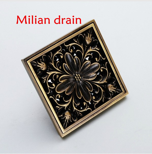 Free shipping Euro Square Antique Brass Art Carved Flower Bathroom Sanitary Floor Drain Waste Grate,bathroom accessories