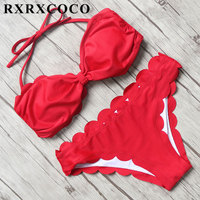 MOOSKINI Solid Bikini Set 2017 Sexy Swimsuit Women Halter Bandage Bikini Bandeau Swimwear Female Bordered Bathing