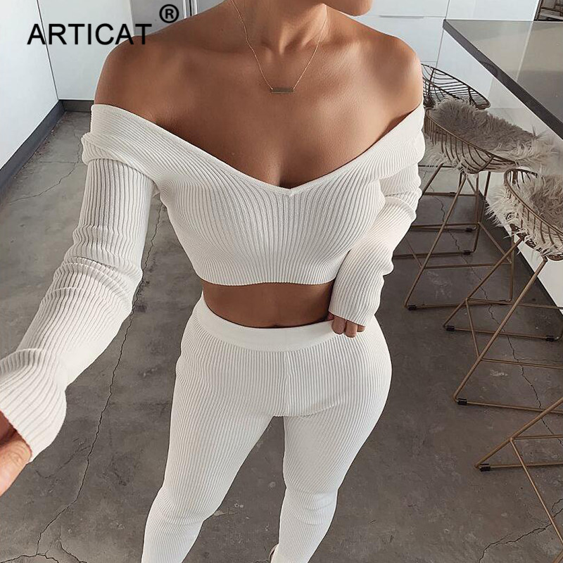 Articat Off Shoulder Sexy Knitted   Jumpsuit   Women Two Piece Set Cotton Bodycon Rompers Womens   Jumpsuit   Casual Long Pants Playsuit
