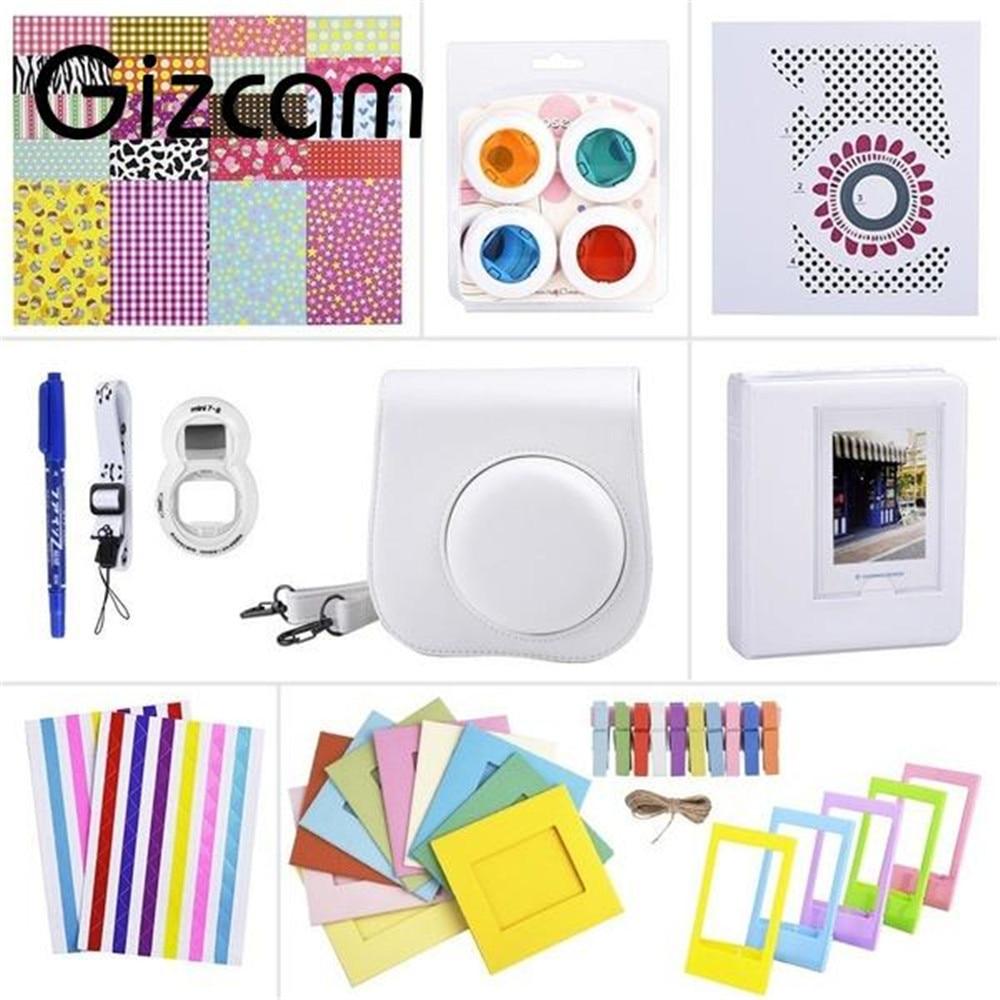 Gizcam Portable 11 In 1 Instant Film Camera Bag Accessories Kit Set for Fuji Fujifilm Instax Mini 8 Cam Random Color