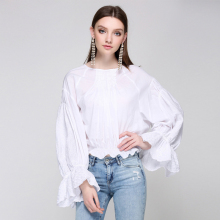 2018 Runway Women Blouses Shirt Tops Sexy Ladies Korean Clothing Ruffle Boho Lace White Blouse Womens Plus Size Top Shirts