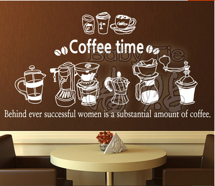 coffee shop vinyl wall decal coffee machine quote coffee time art