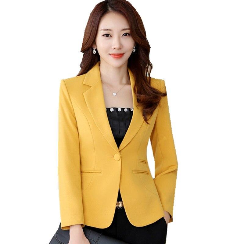 Fmasuth Winter Women Jacket for Office Single Button S-3XL Plus Size Feminino Slim Blazer Mujer Coat ow0424