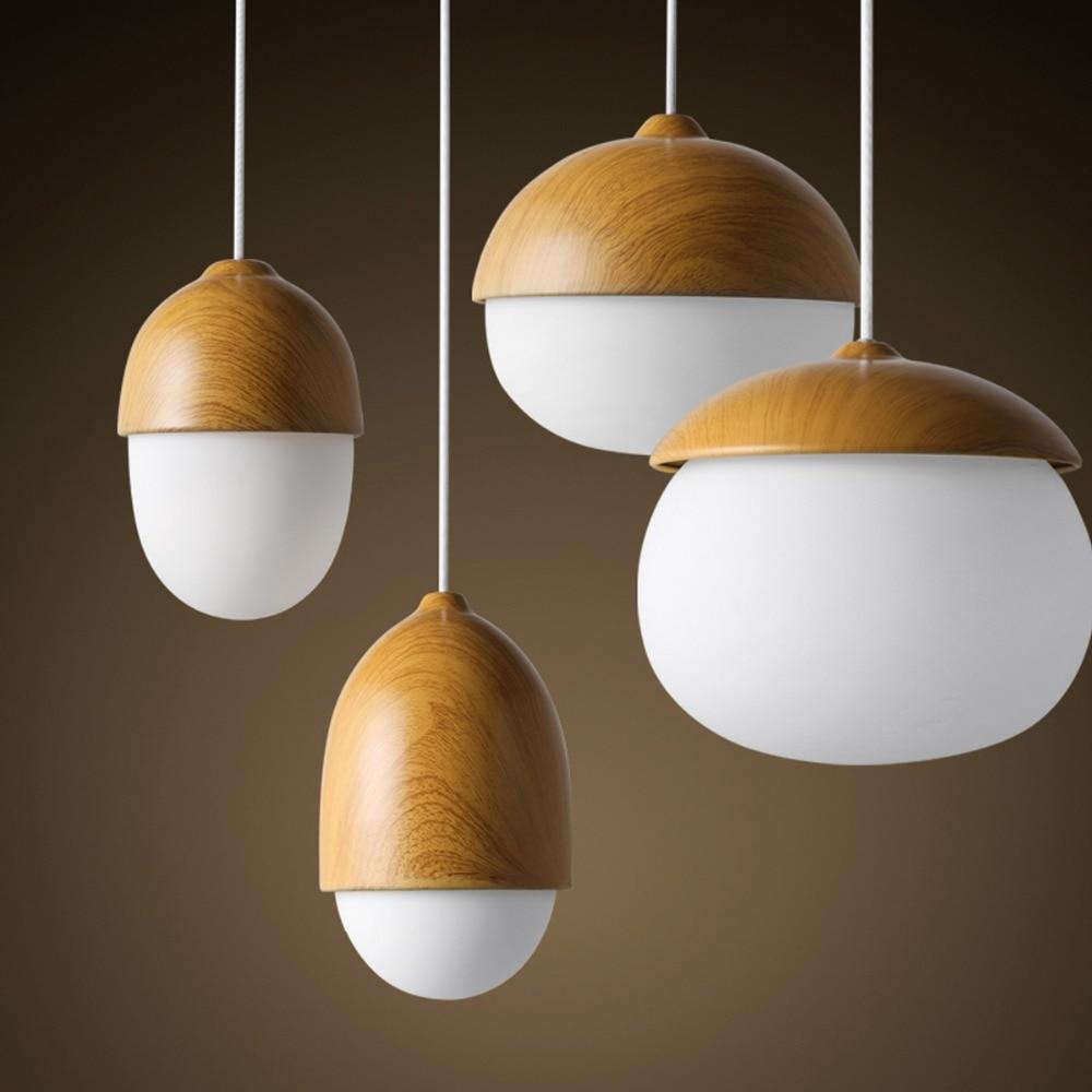 1pc nut shape wooden pendant light egg shape pendant lamp for Luminaire en bois suspension