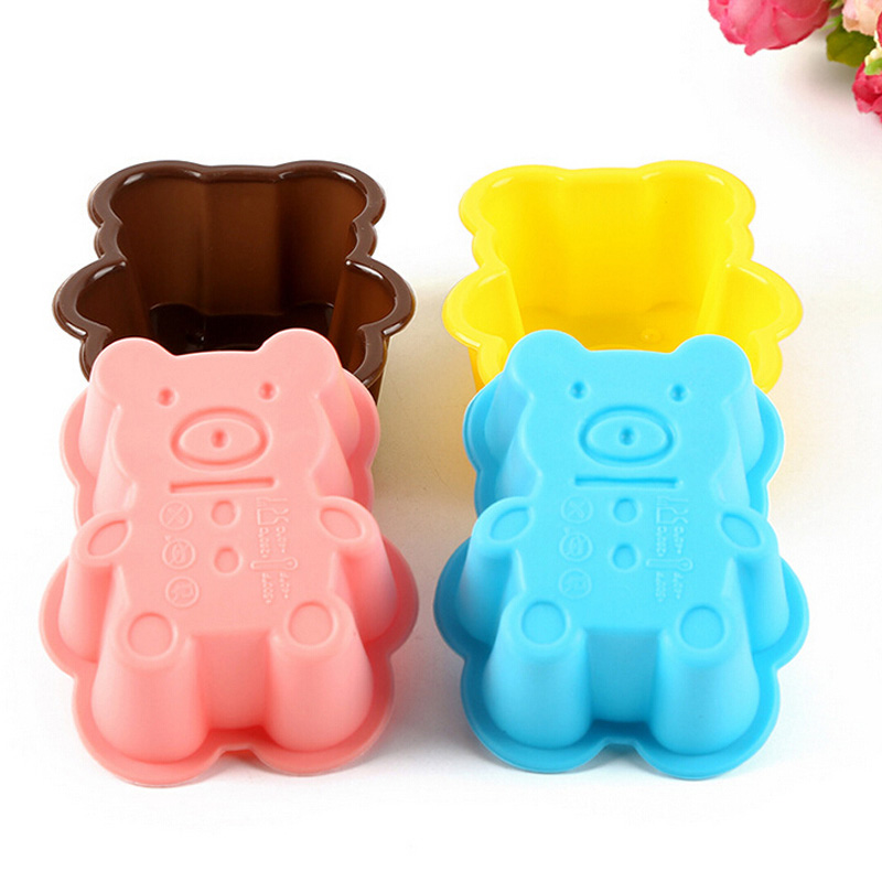 1pcs Cute Bear Silicone Cookies Molde Cake Mold Soap Jelly Muffin Cup Kitchen Dining Bar Supplies Bakeware Tools