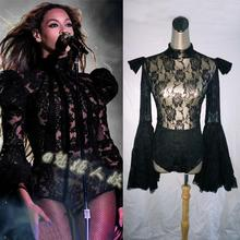 Fashion Sexy Beyonc ds costume Female Lace Flare Sleeve Jumpsuit Nightclub bar Dj Singer dancer Stage Show Performance costumes