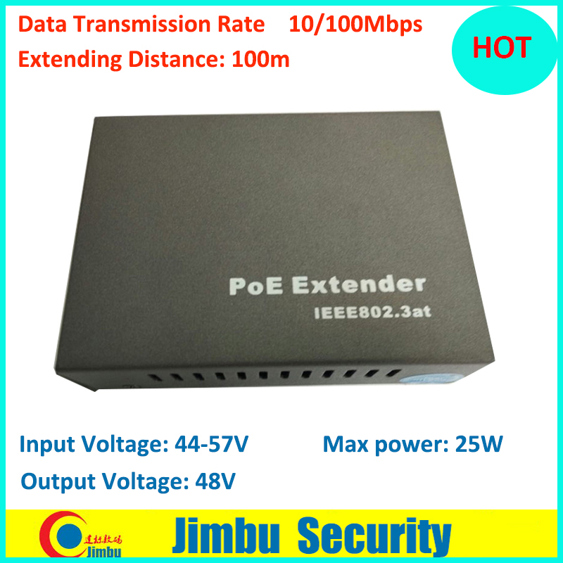 POE Extender 10/100Mbps Distance 100M Input Voltage: 44-57V Input Voltage: 44-57V MAX Power 25W 802.3at cctv ...