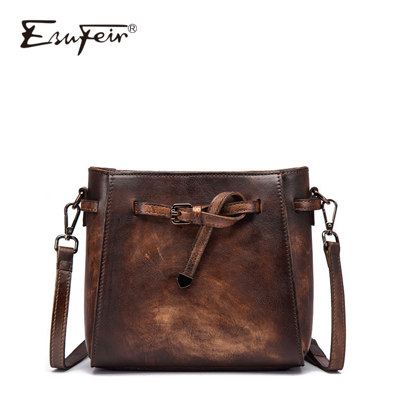 ESUFEIR New Fashion Wipe Color Genuine Leather Women Bucket Bag Vintage Design Women Crossbody Bag Women Tote Bag bolsos mujer vintage women s tote bag with strap and plaid design