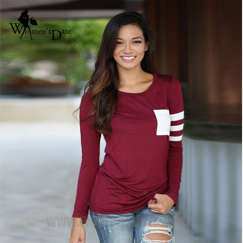 WomensDate Garment Store WomensDate New Style Autumn And Winter Women's T Shirt Two-color Patchwork Round Neck Long Sleeve Tops Tee Shirts