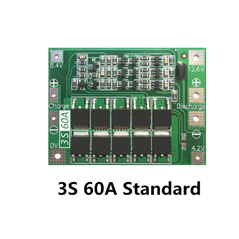 3S 60A BMS board/ Li-ion 12.6V 18650 BMS PCM battery protection board  for li-ion battery